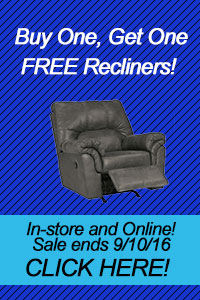 Buy One, Get One FREE Recliners! In-store and Online! Sale ends 9/10/16